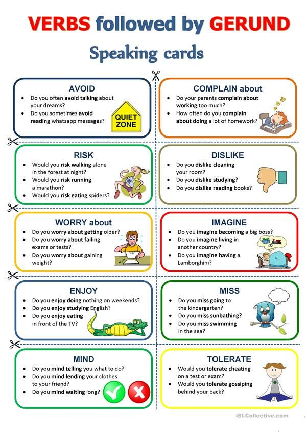 GERUND - Speaking Cards Speaking Activities English, English Teaching  Materials, Learn English