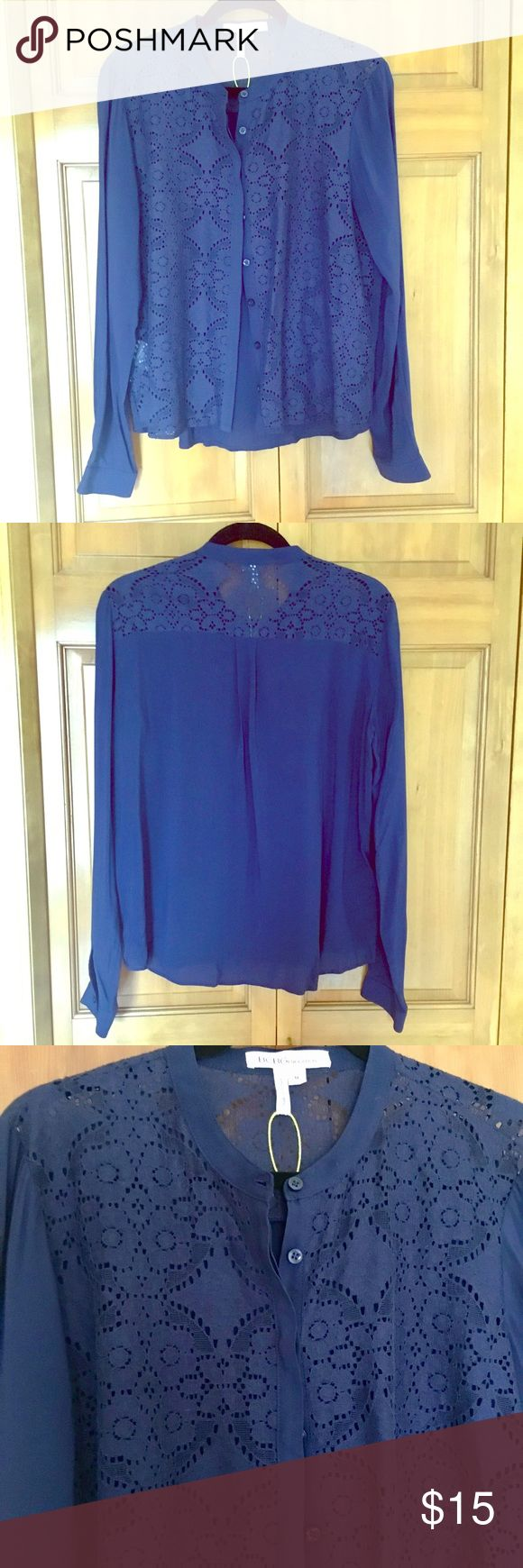 BCBG Generation blue faux lace button down blouse Like new condition/never worn/some tags still attached.  Perfect to wear to work/school or dress up for a night out! BCBGeneration Tops Button Down Shirts