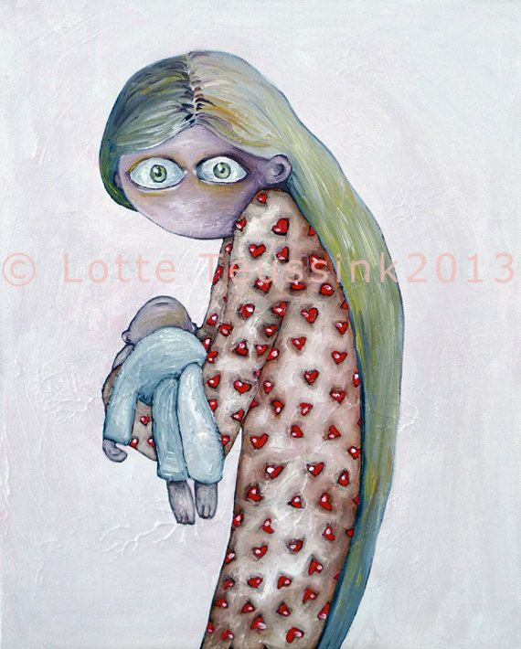 MOTHER Giclee painting art print  Girl baby by LotteTeussink, €27.50