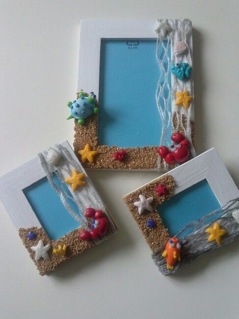 Summer, Sea, Hand made, picture frame, fimo, polymer clay