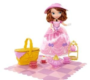 Disney Sofia the First Tea Party Picnic Doll Have a magical tea party picnic with Princess Sofia and Clover the Rabbit! Princess Sofia wears a precious pink party dress with a matching teatime hat.