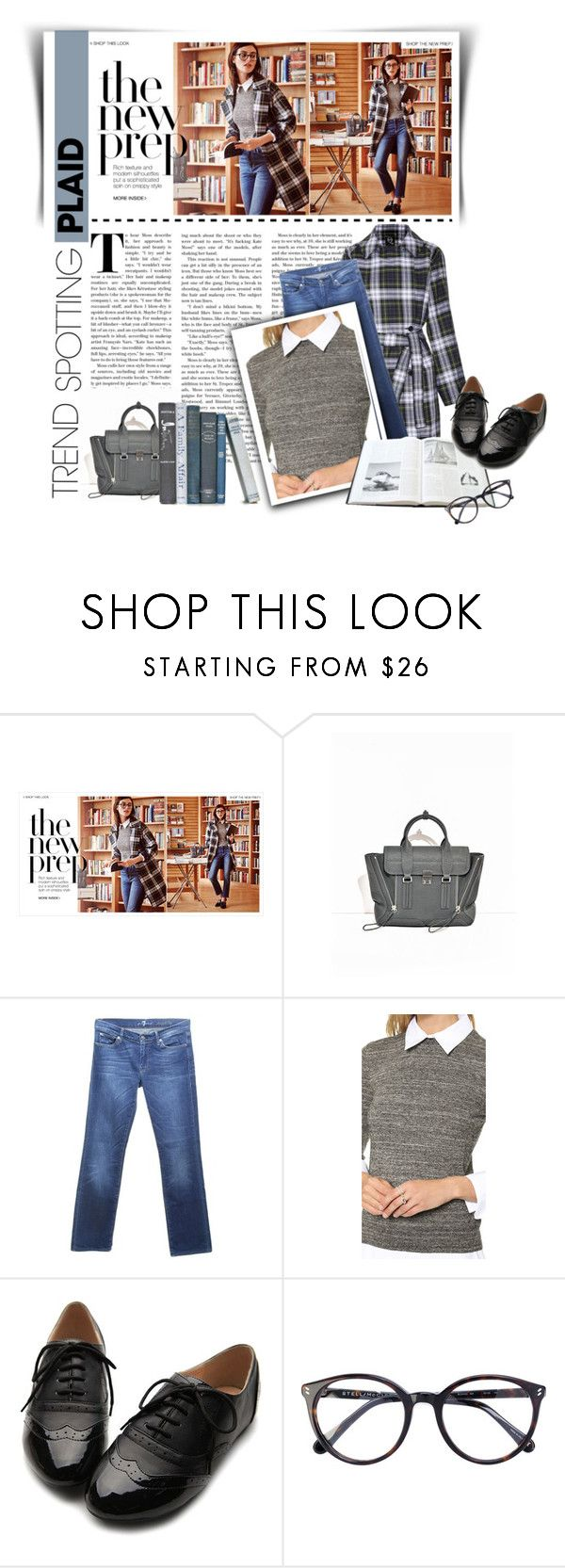 """""""NYFW : Plaid - The New Prep"""" by atikazahra on Polyvore featuring 7 For All Mankind, Ollio, preppy, plaid, contestentry and NYFWPlaid"""