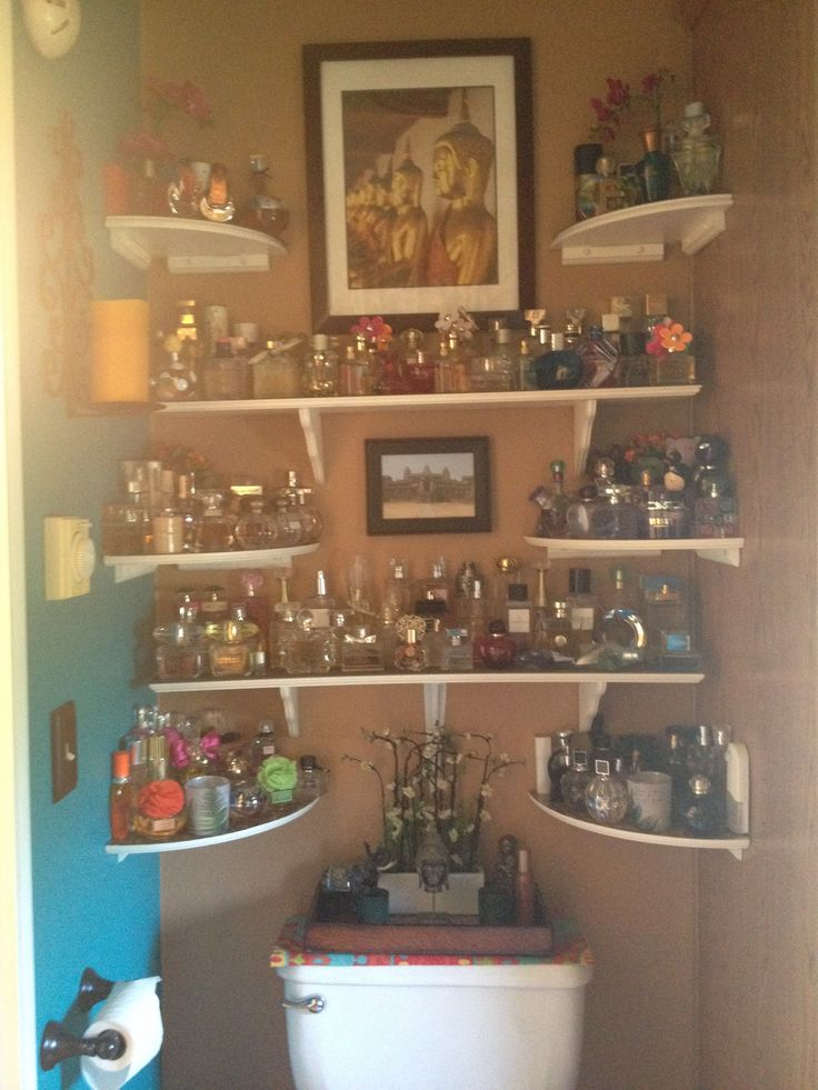 Perfume Display Organization this is on my level but I would never keep my Eau De toilette and parfum collection over a toilet.