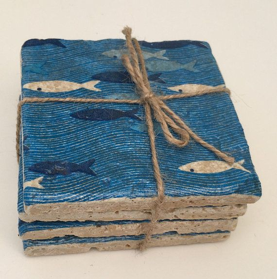 Blue Fish Rustic Coasters Set Of 4 Heavy Tumbled Marble Stone