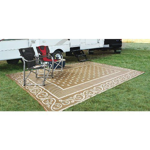 Guide Gear 9x12 foot Reversible Patio / RV Mat by Guide Gear. Save 50 Off!. $49.99. Guide Gear Reversible 9x12' Patio / RV Mat. PRICED LESS! Much more than a rug! Made of durable, colorfast polypropylene, it's built to withstand rain, bright sun and heavy foot traffic. Packs and folds easily. Perfect for RV and camp use, plus picnics, the beach, concerts, you name it. Its weave creates an attractive design on both sides, so it's reversible. Has corner tie-downs to secure it to the gro...
