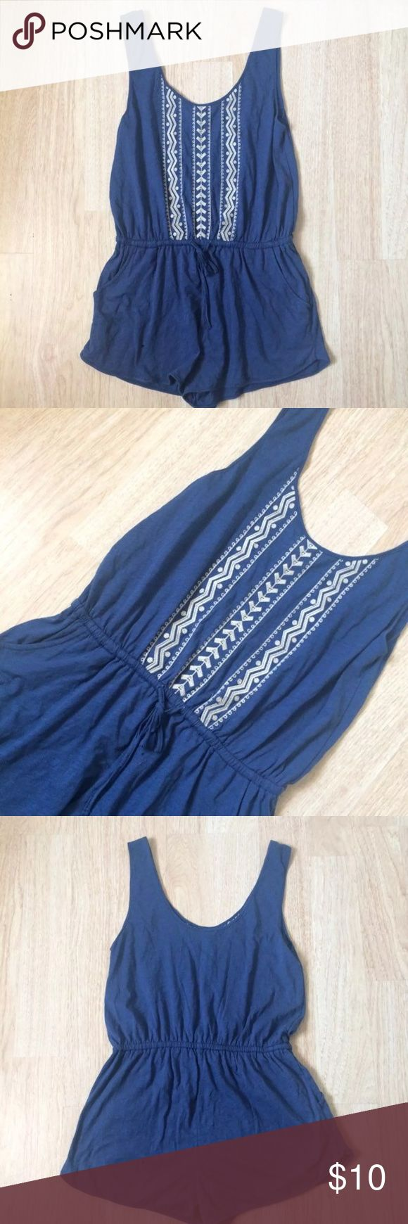 Forever 21 Sleeveless Embroided Romper From forever 21 size medium blue Sleeveless Romper very cute and comfortable with an elastic waistband has pockets on the sides has some nice Tribal Embroidery in the Front great for the beach and the summery bundle if interested    Tags Hollister American Eagle American Apparel Misguided Brandy Melville Forever 21 H&M Free People Asos Urban Outfitters Adidas Topshop Zara Tommy Hilfiger Guess Calvin Klein revolve lulus Tobi Levis Pink Victoria Secret…