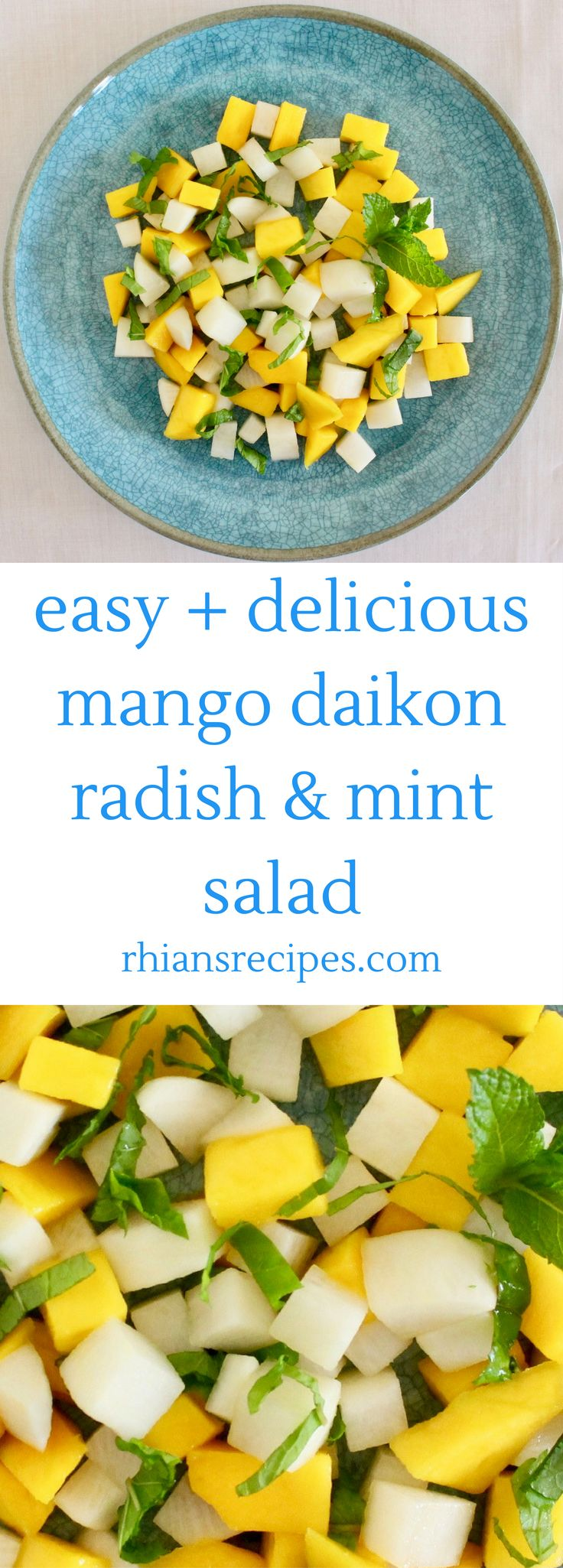 This Mango Daikon Radish Mint Salad is fresh, fruity, minty, and deceptively easy to make!