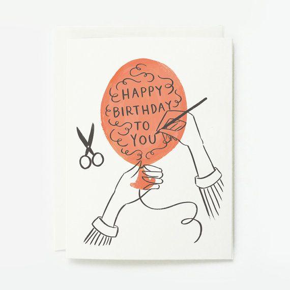 Happy Birthday Balloon Card 1pc by QuillandFox on Etsy, $4.50