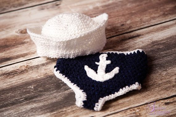 Baby Boy Sailor US Navy Hat and Diaper Cover by HooksandAnchors, $31.17