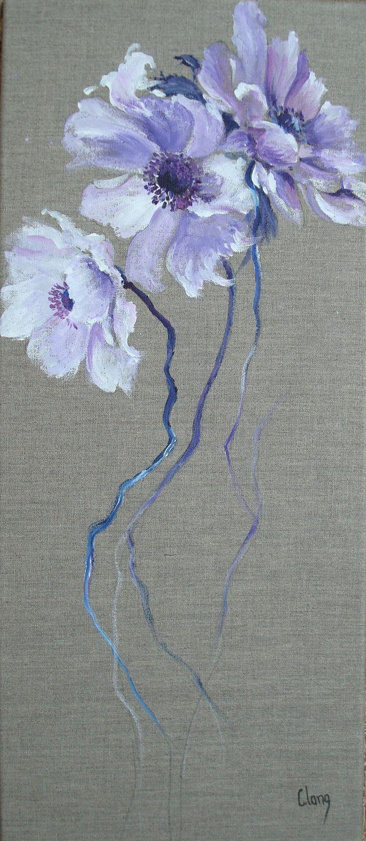 "http://chalang.wordpress.com .""anemone"" acryl 40 x80cm by Chantal Lang"