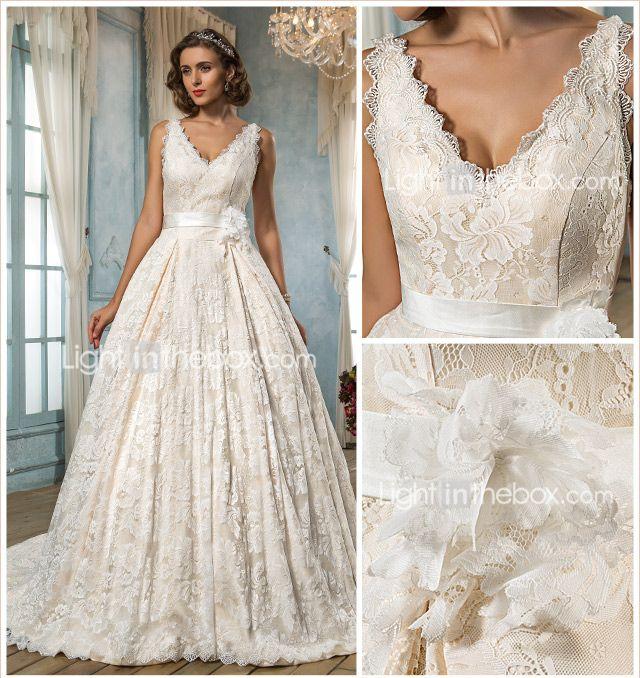 Vestido de Noiva - Marfim Trapézio Em V Cauda Corte Renda Tamanhos Grandes de 2015 por R$615,28