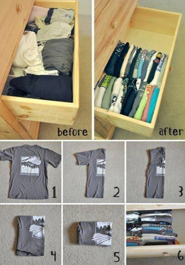 Lan also swears she is doing this. If she is successful and actually does it I am sending her to my room!!  Organization: T-shirt storage