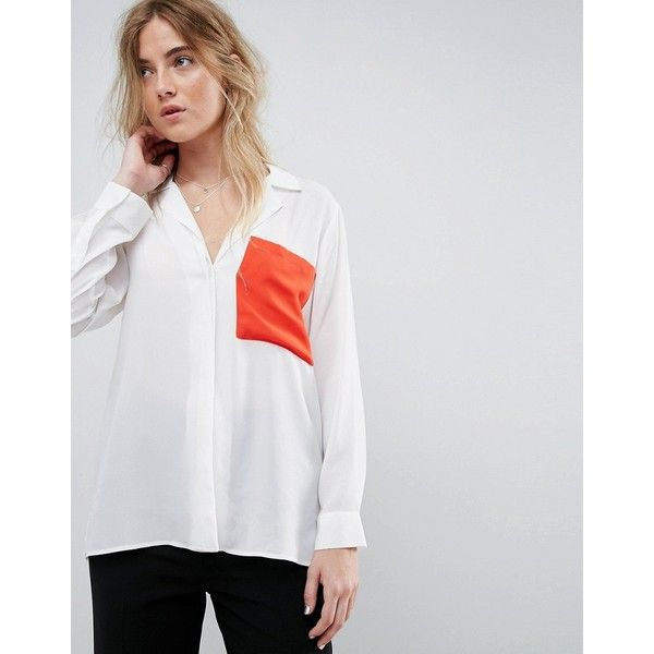 ASOS Blouse With Contrast Pocket ($46) ❤ liked on Polyvore featuring tops, blouses, night out tops, pocket tops, wet look top, asos blouses and party blouses