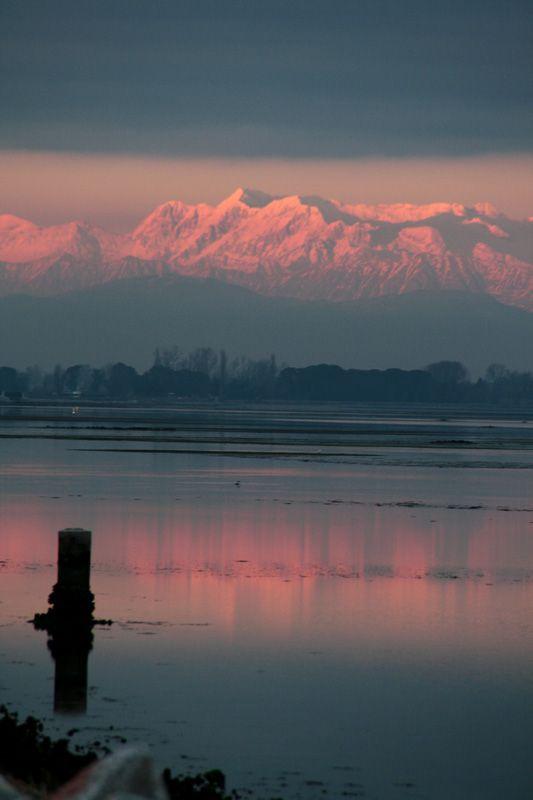 Grado, Friuli Venezia Giulia, sunset and Alps, NEitaly