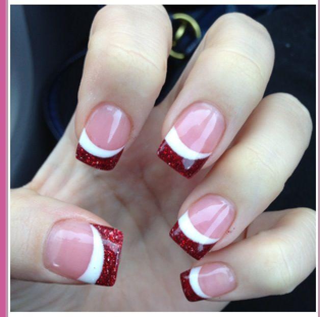 Holiday nails RED AND WHITE FRENCH TIP NAILS. #nails DIY NAIL ART DESIGNS