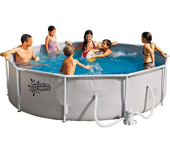 Buy Summer Waves 10ft Round Frame Family Pool 10ft 4792l Pools And Paddling Pools Argos Pool Big Pools Family Frames