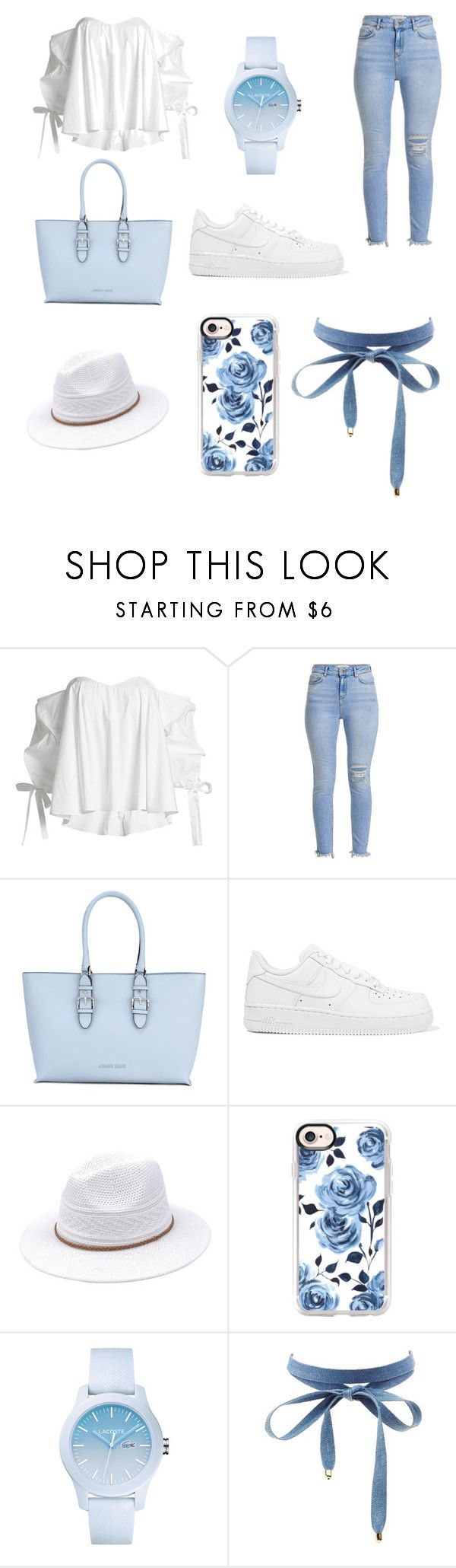 """""""bluuuu"""" by stellabellaboll ❤ liked on Polyvore featuring Caroline Constas, Armani Jeans, NIKE, Casetify, Lacoste and Charlotte Russe"""