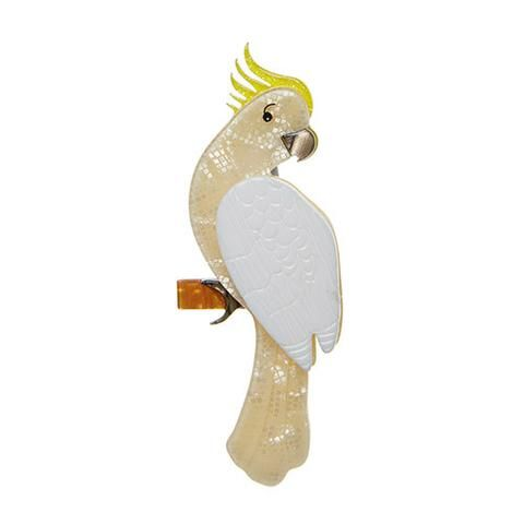 "Erstwilder Limited Edition Carnaboo the Cockatoo Brooch. """"I like chatting. Do you like to chat? I can chat about anything anytime all night. If you don't mind Id like to share with you the story of my life"""""
