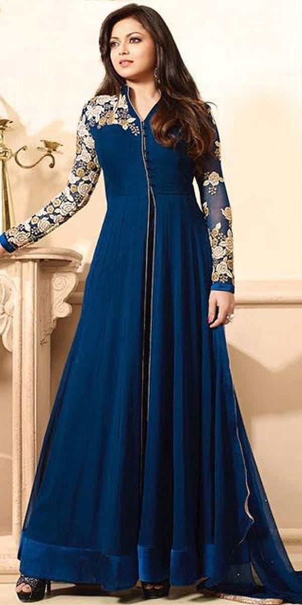 Sparkling Blue Georgette Anarkali Suit With Dupatta.