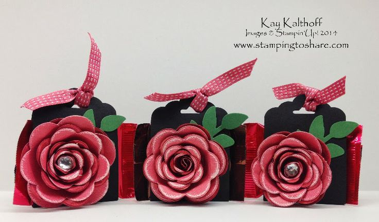 Spiral Rose Ghirardelli Treat Holders with How To Video, Kay Kalthoff, Stamping to Share, Stampin' Up!, Party Favors, Treat Holders, Valentine Favor,