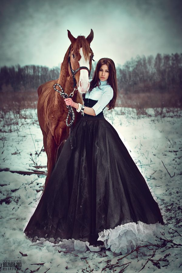 "Photo ""Untitled"" by Светлана amazing dress on a girl with horse in snowy winter. Беляева #500px"