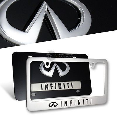 3D INFINITI Stainless Steel License Plate Frame -2PCS Front & Back Set AUTHENTIC