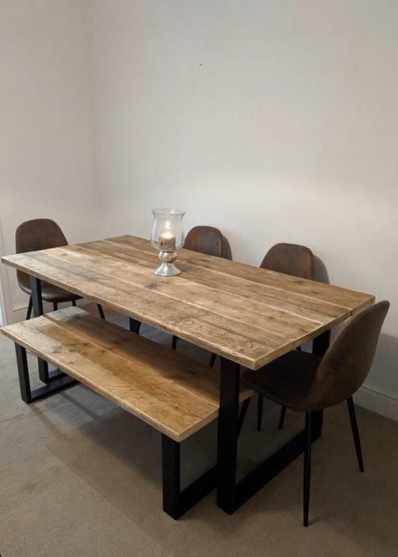 Vanguard Modern Rustic Reclaimed Wooden Dining Table And Bench Etsy In 2020 Wooden Dining Tables Dining Table With Bench Dining Table