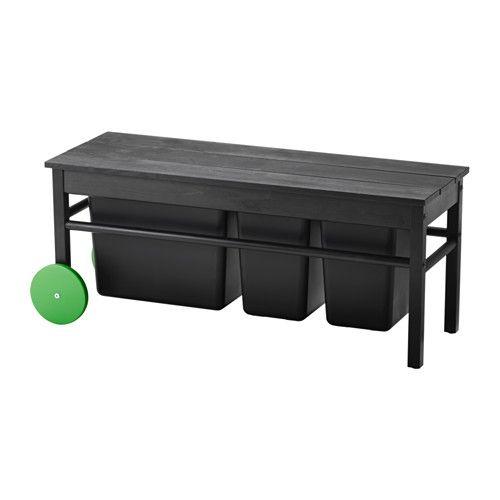ANVÄNDBAR Bänk för avfallssortering IKEA Hjulen gör den enkel att flytta.