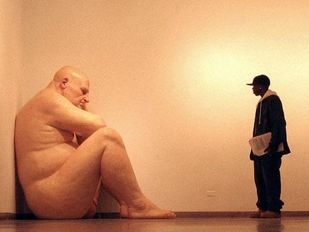 Ron Mueck's, giant sculpture, man in corner