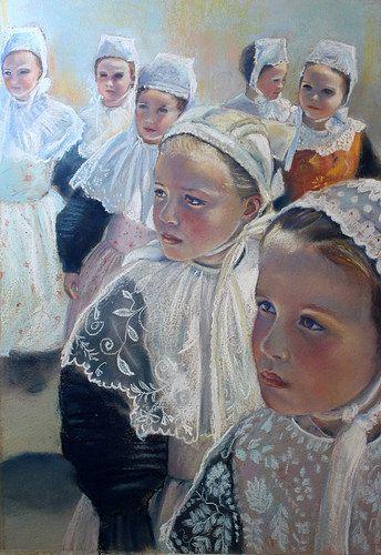 Le défilé des petites Bretonnes -  Pastel 35 x 50cm by Monika.g