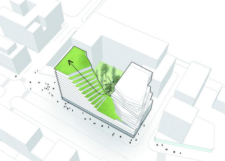 Conjunto de Viviendas en Masséna,Esquema Areas Verdes