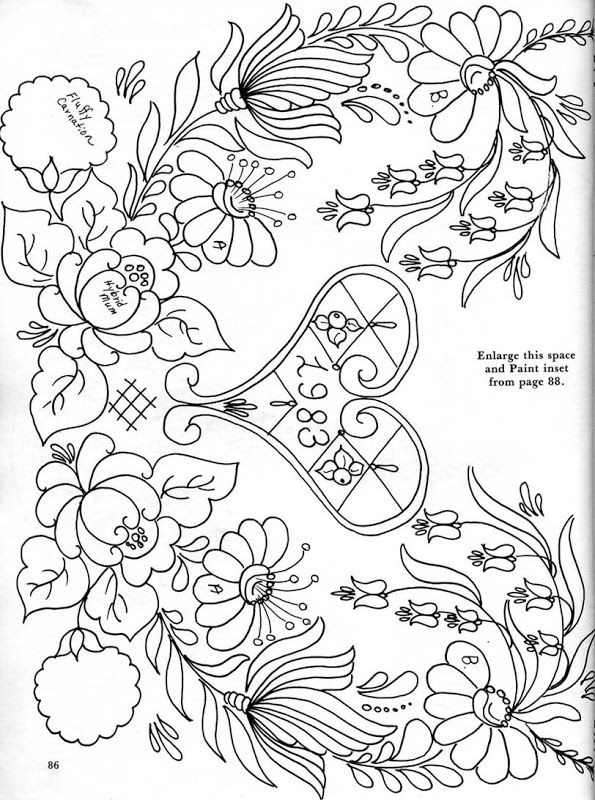 Folk art patterns coloring pages sketch coloring page for Folk art coloring pages