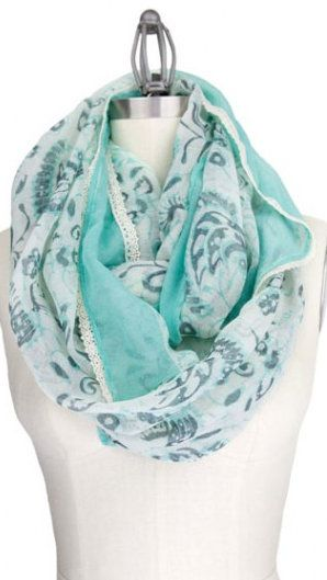 The colors were so perfect! I couldn't resist! Mint Gray Paisley Infinity Scarf