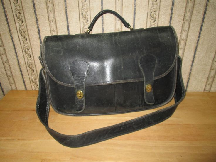 Black VINTAGE leather COACH briefcase - PREOWNED/SHOWS SOME WEAR #COACH #BRIEFCASE