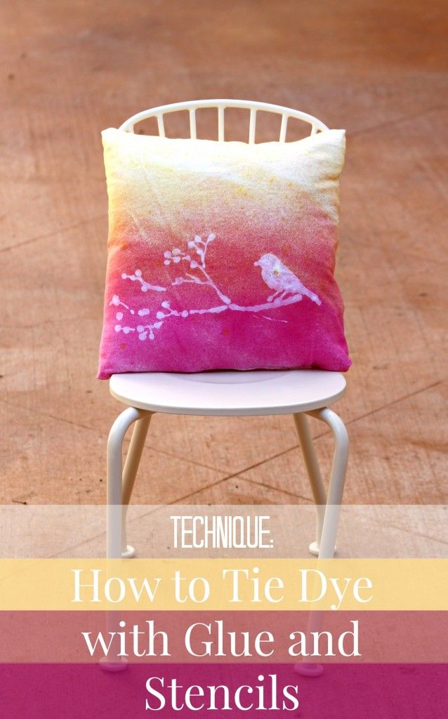 tie dye technique.  Use glue and stencils to create designs when you tie dye.