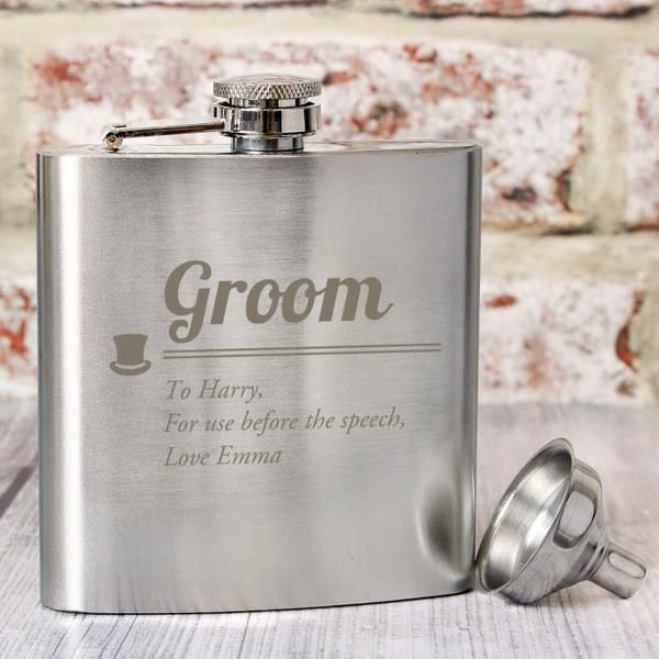 Customized Groom Hip Flask