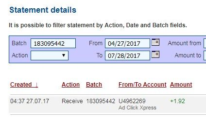 Here is my Withdrawal Proof from AdClickXpress. I get paid daily and I can withdraw daily. Online income is possible with ACX, who is definitely paying - no scam here. I WORK FROM HOME less than 10 minutes and I manage to cover my LOW SALARY INCOME. If you are a PASSIVE INCOME SEEKER, then press (Ad Click Xpress) is the best ONLINE OPPORTUNITY for you!!