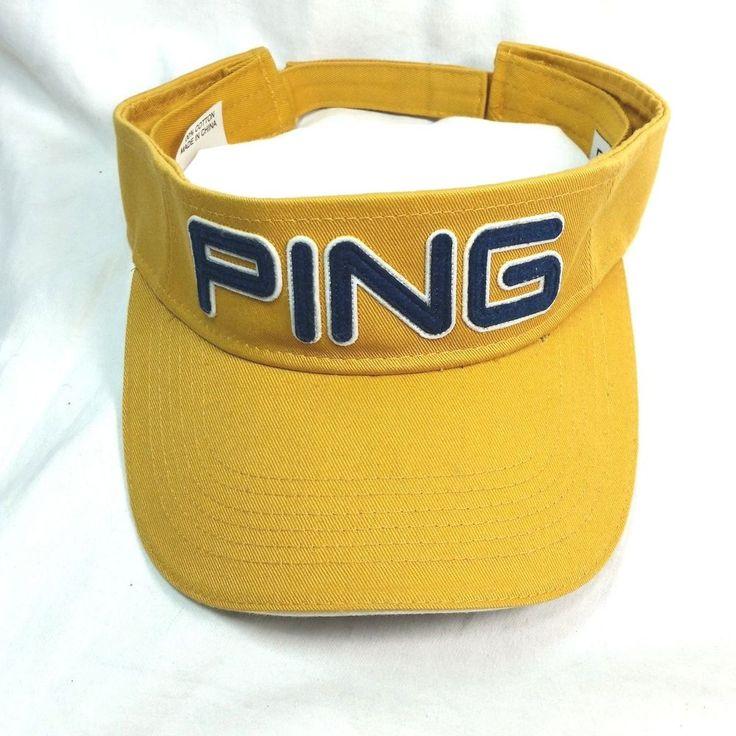PING Golf Sport Sun Visor Mustard Yellow Navy Adjustable Closure Unisex Cap Hat #Ping #Visor