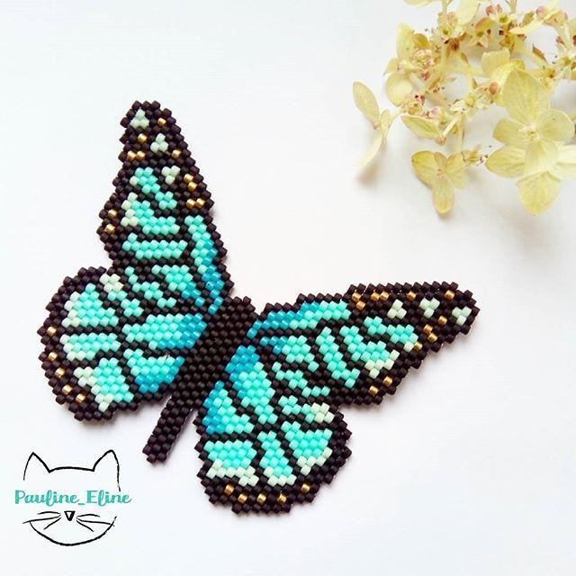 Après le papillon de nuit, le papillon de jour! C'était looooong à faire! Mais je suis contente du résultat, j'espère qu'il vous plaira! #jenfiledesperlesetjassume #miyukibeads #miyuki #beadwork #butterfly #papillon #bug #insecte #brickstitch #perleaddict #perles #motifpauline_eline