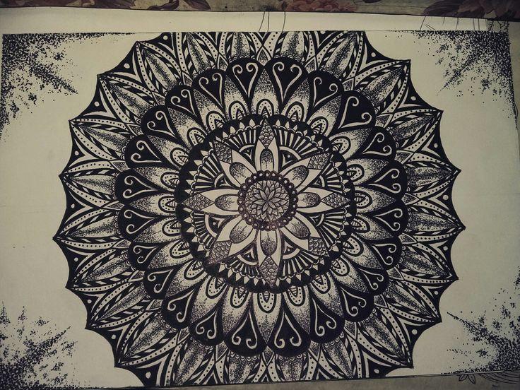 Mandala black pen