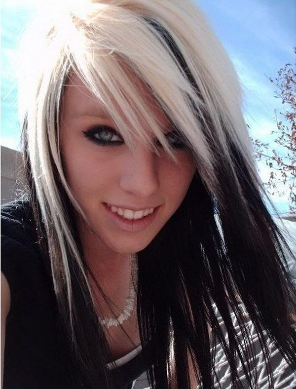 Blonde Highlights on Black Hair.