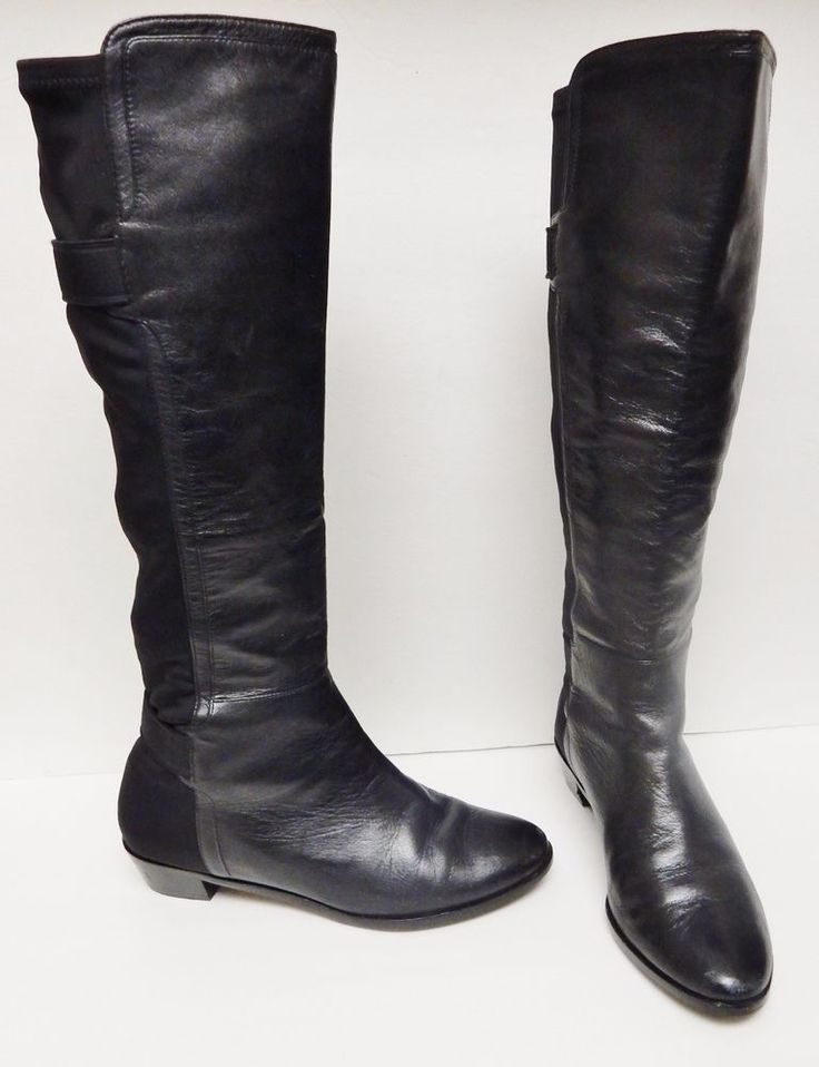 Cole Haan Nike Air Women's Boots Tall Leather Riding Stretch Back Black 6.5 B #ColeHaan #RidingEquestrian #Alloccasion