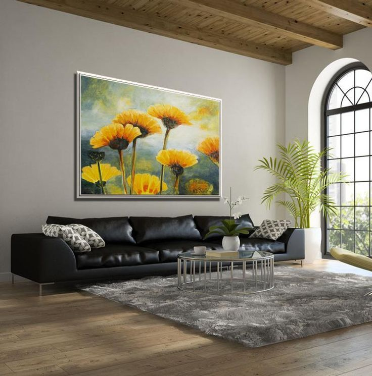 Flower Painting Paintings On Canvas Living Room Painting Etsy In 2020 Wall Art Living Room Flower Wall Art Living Room Art