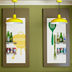 paint stencils over pegboard for interest (and clean look) and use short boards over peg hooks for shelves!