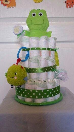 Custom green diaper cake $40 Sold