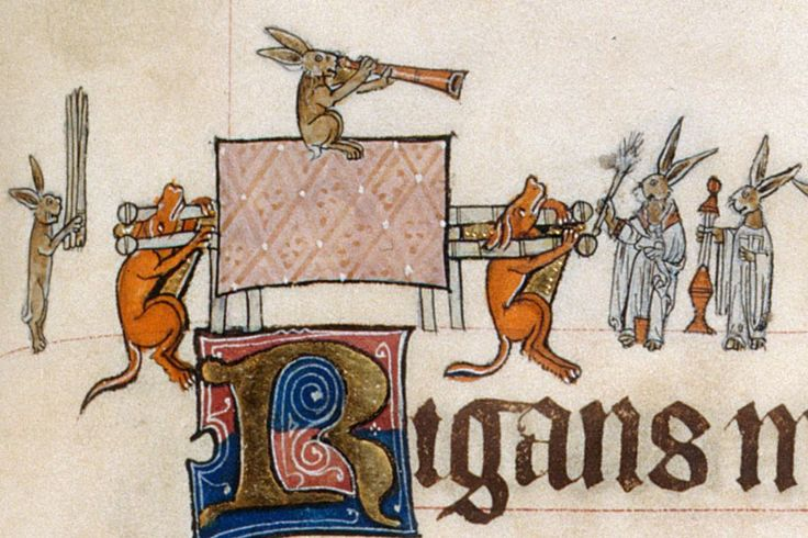British Library, Add 49622, f. 133r. The Gorleston Psalter. 1310-1324.  One illustration cut in two for ease of viewing.