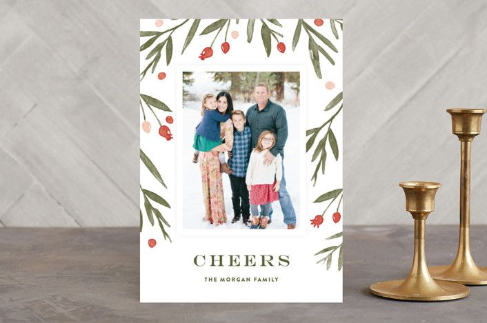 """Winter Harvest"" - Flora & Fauna, Floral & Botanical Holiday Photo Cards in Berry Red by Oscar & Emma."