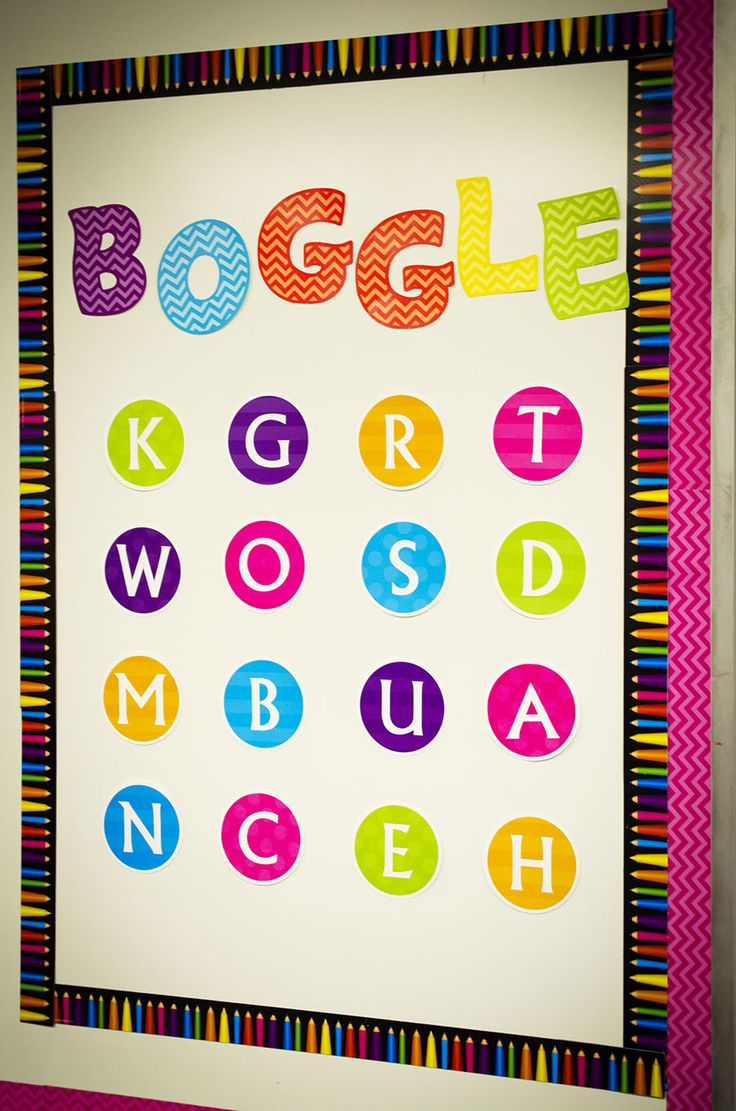Create a Boggle Board in your room. The Chevron themed classroom decorations from Teacher Created Resources are sure to brighten any classroom.  Features bright colors, chevron pattern, polka dots, stripes, ladybugs and so much more. Bulletin boards, border trim, accents, calendars and more items make up this room. Pink, blue, green, purple, yellow, orange.