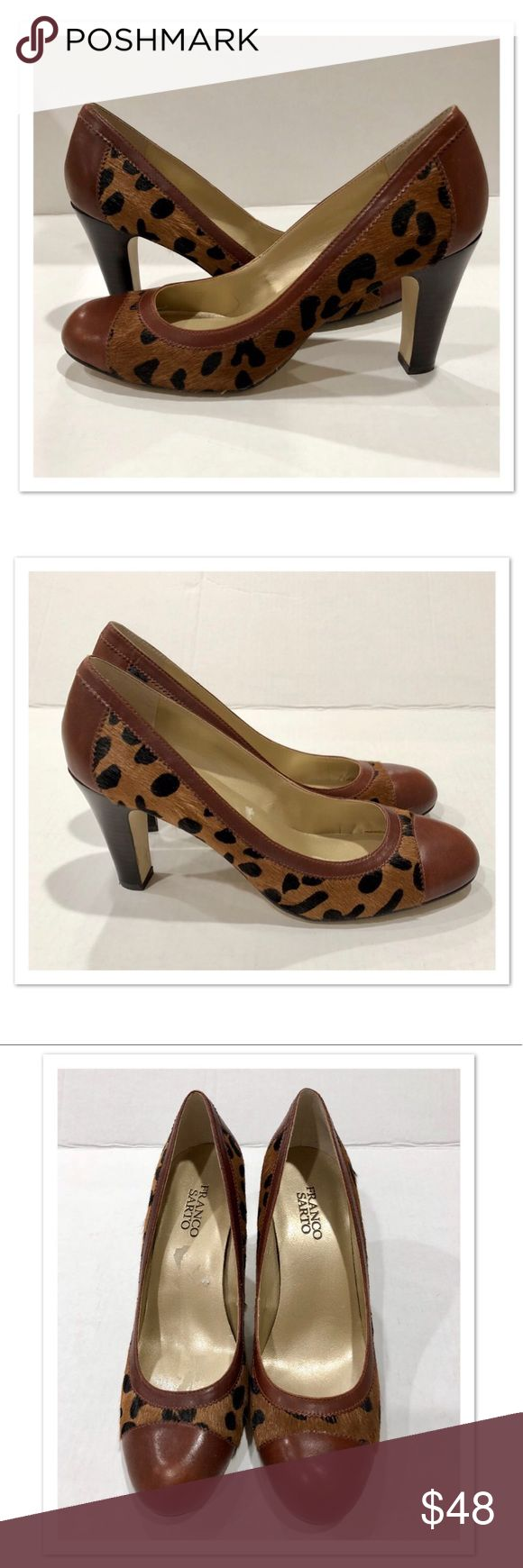 """Franco Sarto Leopard Print Pumps Franco Sarto Leopard Print Pumps. Excellent condition! One small area of discoloration near the back right shoe. Heels are in great shape. Bottoms show light wear. 3.5"""" heel. Show pads were removed so there's a little sticky residue that can easily be rubbed away. 100% Genuine leather upper. BEAUTIFUL in person!! Franco Sarto Shoes Heels"""