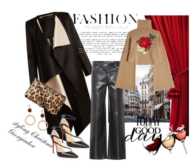 Leather pants style by christina-geo on Polyvore featuring William Fan, Roland Mouret, Calvin Klein 205W39NYC, Christian Louboutin and Dolce&Gabbana